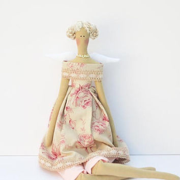 Pretty fabric angel doll, rose summer angel,cloth doll - blonde light pink  pastel rose dress- gift for girl. Collectible shabby chic doll