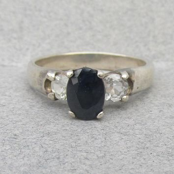 Vintage Sterling Silver Oval Black & White Sapphire Ring, Size 7
