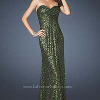 Strapless Sequin Long Evening Prom Gown by La Femme