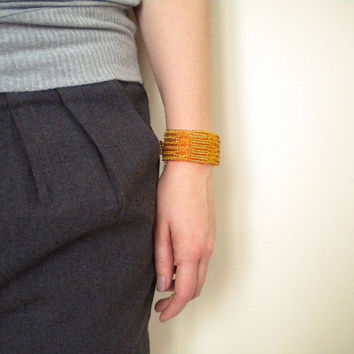 Wide gold bracelet, seed beaded cuff, adjustable bracelet