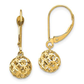14k Yellow Gold Bead Dangle Leverback Earrings
