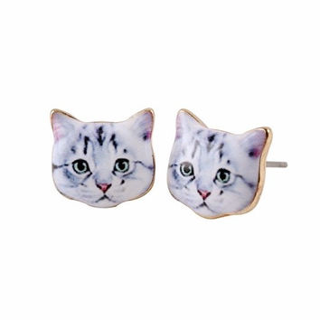 Plaintive Cat Face Stud Earrings