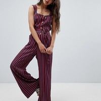 Free People City Girl stripe jumpsuit at asos.com
