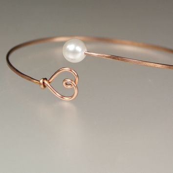 14k rose golf filled pearl heart wiring  bangle bracelet Bridesmaids gifts Free US Shipping handmade Anni Designs