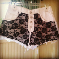 White Jean Shorts With Black Lace and REAL SWAROVSKI CRYSTAL Buttons Size 11/12