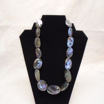 Jay King DTR Sterling Silver and Natural Abalone Necklace Adjustable Length