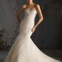 Blu by Mori Lee 5168 Strapless Fit and Flare Wedding Dress