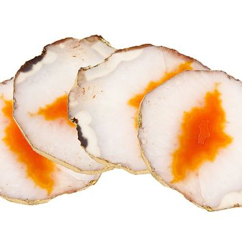 S/4 Orange Agate Coasters