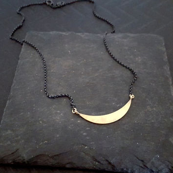 Gold Pendant Crescent Moon Necklace, Moon Black Chain Sterling Silver Gold Bar, Brass Pendant, Half Moon, Edgy Boho Chic Style Jewelry
