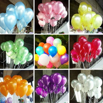 100pcs 10 inch Colorful Pearl Latex Balloon Celebration Party Wedding Birthday = 1933200132