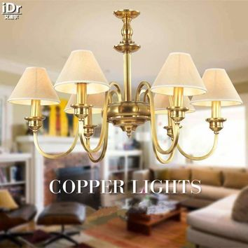 American all-copper lamps living room lamp bedroom Art Deco restaurant copper lamps Ceiling Lights OLU-0110