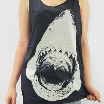 SHARK Head Animal Hot Chic Shirt Animal Tank Top Women Vest T-Shirt Animal Tunic Top Animal Singlet Animal Sleeveless Black T-Shirt Size S M