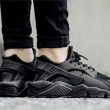 """NIKE""AIR Huarache Running Sport Casual Shoes Sneakers pure black-black logo H"