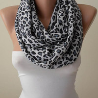 New Scarf - Mother's Day Gift Scarf - Leopard  Infinity Scarf - Soft Cotton Fabric