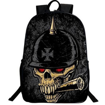 New Gothic Punk Skull Backpack 3D Printing Vintage