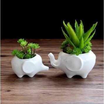 Elephant Cute Creative Pots Ceramic Ornaments Crafts Handmade Flower Plant Bottle Pot Garden Decor