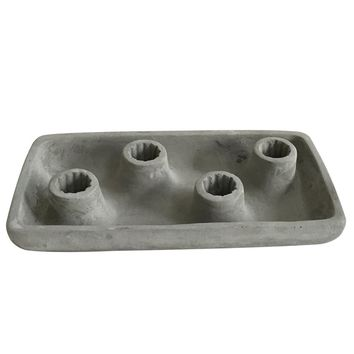 "Cement Taper Candle Holder - Holds 4 Candles - 8.5"" L x 4.25"" W x 1.75"" H"