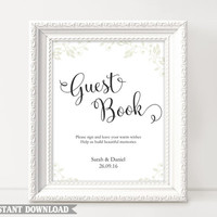 Guest Book Sign, Wedding Guest Book Sign, Printable Guest Book Sign, Wedding Signs, Guestbook Sign Template, Custom Script Sign Download