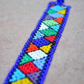 Beaded bracelet,African accesories,Colourful checkered bracelet,African seed beads,Ethnic African beadwork,Tribal African accesories