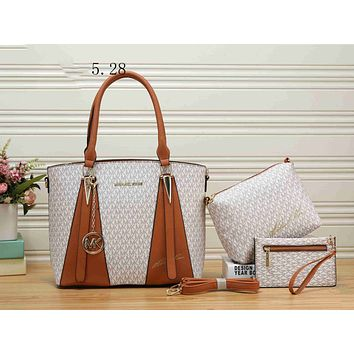 MK Fashion Women Leather Handbag Shoulder Bag Crossbody Purse Wallet Set Three Piece Beige White I-KSPJ-BBDL