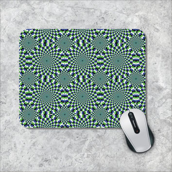 Geometric Mousepad, Custom Mousepad, Optical Illusion Mouse Pad, 3D Effect Mouse Mat, Blue Green Rotating, Personalized Computer Accessories