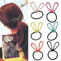 Fashion Korean Hair Accessories Ponytail Holder Elastic Hair Bands (Cute Rabbit Ears (Set of 6pcs))