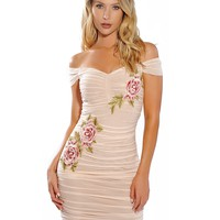 Perle Beige Off Shoulder Flower Embellished Ruched Mesh Dress