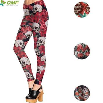 Rose Sugar Skull Print Sports Yoga Leggings Skinny Workout Cosplay Punk
