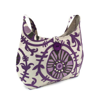 Purple hobo bag, Slouch bag, Cotton hobo bag, Quilted handbag, Beige handbag, Lavender hand bag, Lareg hobo purse, Purple shoulder tote