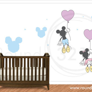 Mickey Mouse - Minnie Mouse Floating Off On Balloons - Wall Vinyl For Children's  & Infants' Playroom orBedroom - Disney Decor