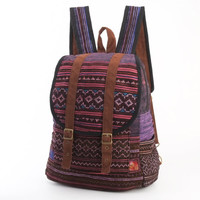 Magenta/ Pink/ Purple Backpack Ethnic Tribal Needlework Boutique Floral Rucksack