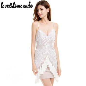 Fringed Sequined V-Neck Party Dress