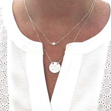 layered Necklace, Elephant Necklace, Simple Necklace, Minimalist Necklace, Diamond Necklace, Personalized, Engraved, Layering Jewelry, Layer