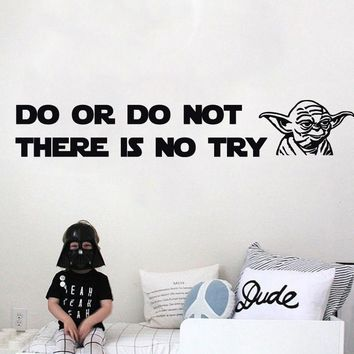 2016 New Design DO OR DO NOT there is no try Yoda Quote Vinyl Decal WALL STICKER Home Decor Art Star Wars DIY home decoration