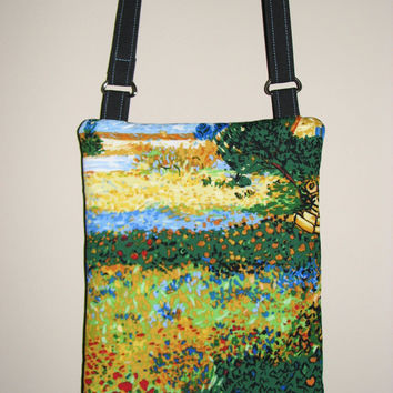 "Quilted Cross Body Purse , Small Shoulder Bag , Vincent Van Gogh ""Flowering Garden"""