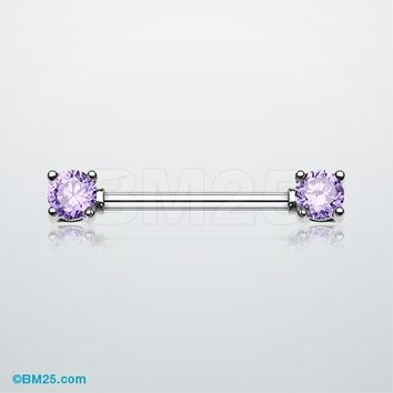 Double Prong Gem Nipple Barbell Ring