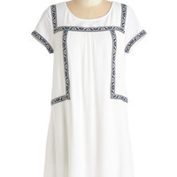 ModCloth Boho Mid-length Short Sleeves Shift I Wove You So Much Dress