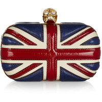 Alexander McQueen | Britannia Skull leather box clutch | NET-A-PORTER.COM