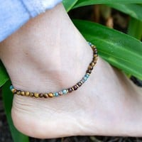 Tiger's Eye and Agate Anklet