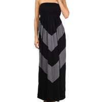 In Style Black/Grey Strapless Maxi Dress