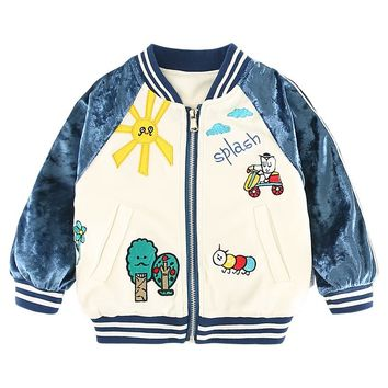 Cute Scrawl Spring Kids Jacket Baby Boys Outerwear Coats Long Sleeve Velour Embroidery Toddler Girls jacket coat Pink Blue