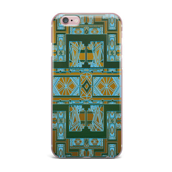 "Nika Martinez ""Golden Art Deco Green & Blue"" iPhone Case"