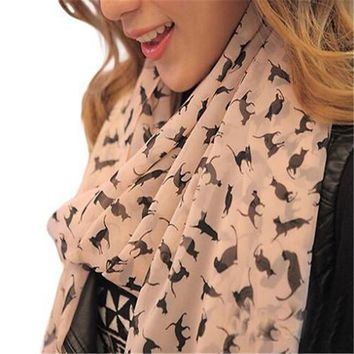 STYLEDOME Women's Chiffon Cartoon Cat Kitten Scarf Graffiti Style Shawl