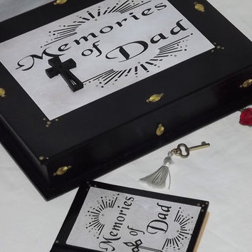 Memories of DAD. Wooden lockable box and a FREE matching notebook. Black & White with a Cross. Memorial box. Memory box. Love Dad