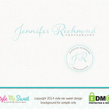 Custom Premade Photography Logo - Watercolor Initials Logo Design and Logo Stamp Photographer Logo Design Watermark Design