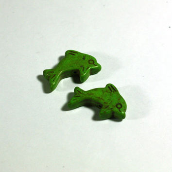 2 Green Dolphin Beads: Howlite Peace Sign Beads / 25mm / jewelry making / jewelry supply