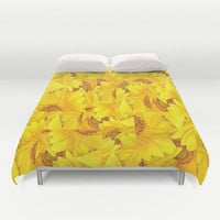 Yellow Floral Duvet Cover Floral Print Duvet Cover Bed of Sunflowers Large Sunflowers Duvet Cover Sunny Duvet Cover Flower Power Bedding Sun