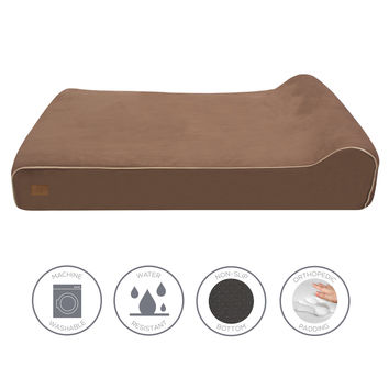 Memory Foam Dog Bed with Machine Washable Microfiber Slipcover
