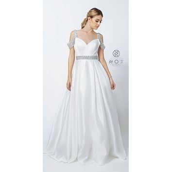 Embellished Cold-Shoulder Plus Long Prom Dress with Pockets White