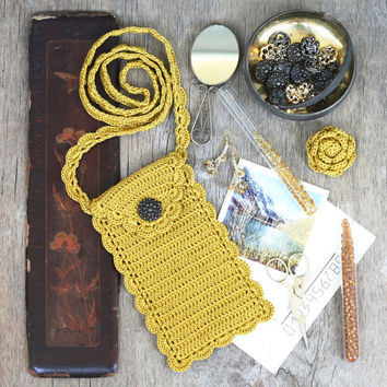 Mustard phone case with long crossbody strap Cell phone purse pouch sleeve cozy cover Back to school Fall Autumn Boho chic
